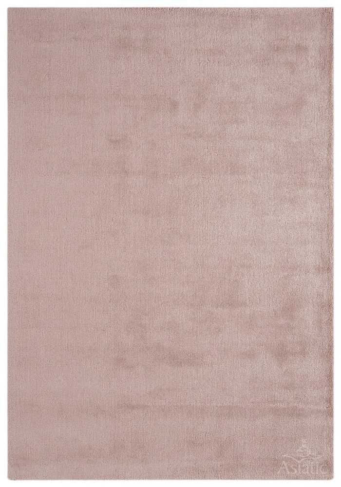 Luxuriously thick Aran Rug by Asiatic Carpets in Rose Pink Colour; made with fine wool with viscose for a grand finish