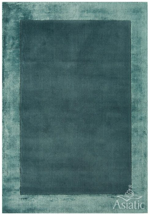 Ascot Rug by Asiatic Carpets in Aqua Blue Colour; made using Wool bordered with viscose for added charisma