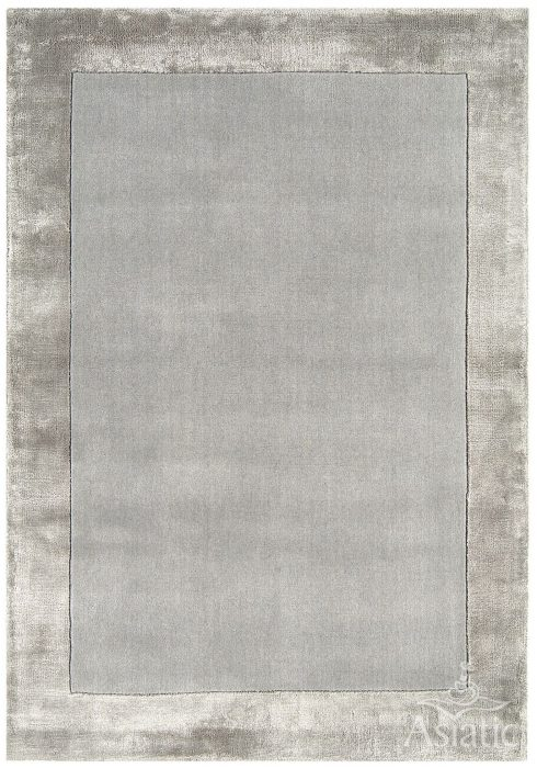 Ascot Rug by Asiatic Carpets in Silver Colour; made using Wool bordered with viscose for added charisma