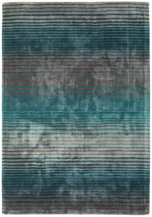 Holborn Rug by Asiatic Carpets in Turquoise Colour has stylish horizontal stripes in lustrous colour combinations