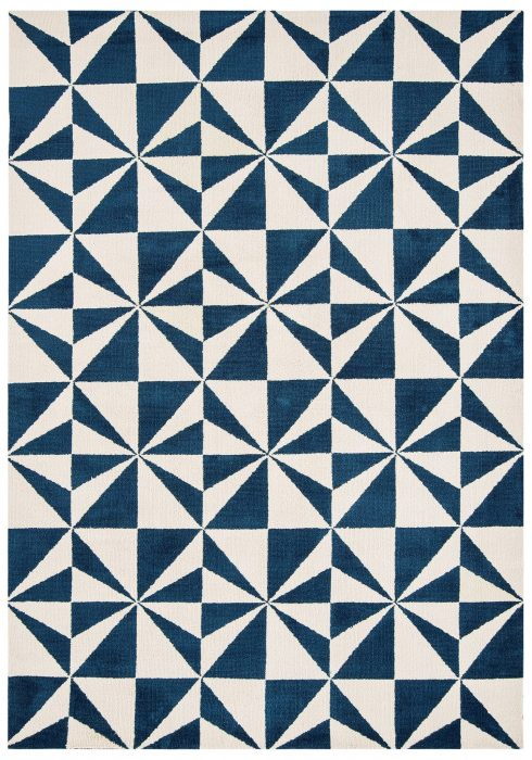 Arlo Rug by Asiatic Carpets in AR02 Mosaic Denim Design; a soft weave rug with bold geometric patterns