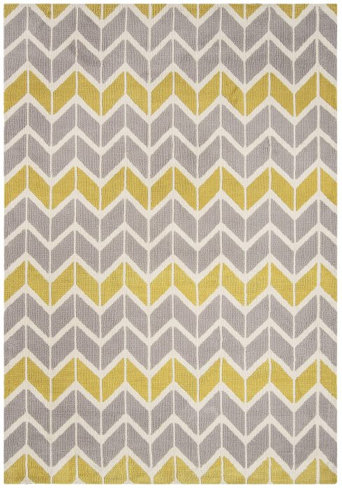 Arlo Rug by Asiatic Carpets in AR06 Chevron Lemon/Grey Design; a soft weave rug with bold geometric patterns