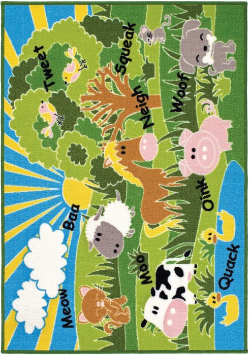 Children's Playtime Rug by Oriental Weavers in Animals Design features sheep, cows, horses, pigs, ducks, dogs, and cats