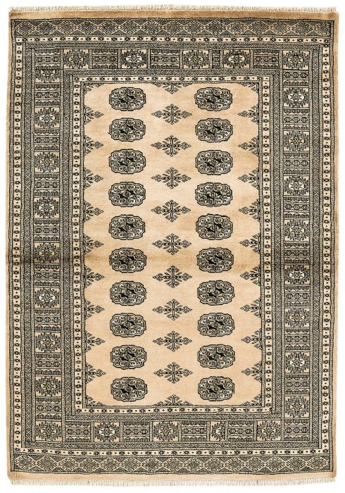 Bokhara Rug by Asiatic Carpets in Beige Colour; a hand-knotted rug featuring the classic 'Gul' motif