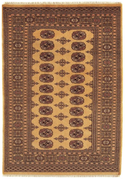 Bokhara Rug by Asiatic Carpets in Gold Colour; a hand-knotted rug, featuring the classic 'Gul' motif