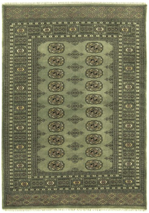 Bokhara Rug by Asiatic Carpets in Green Colour; a hand-knotted rug, featuring the classic 'Gul' motif