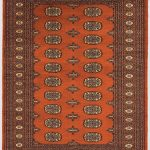 Bokhara Rug by Asiatic Carpets in Rust Colour; a hand-knotted rug, featuring the classic 'Gul' motif