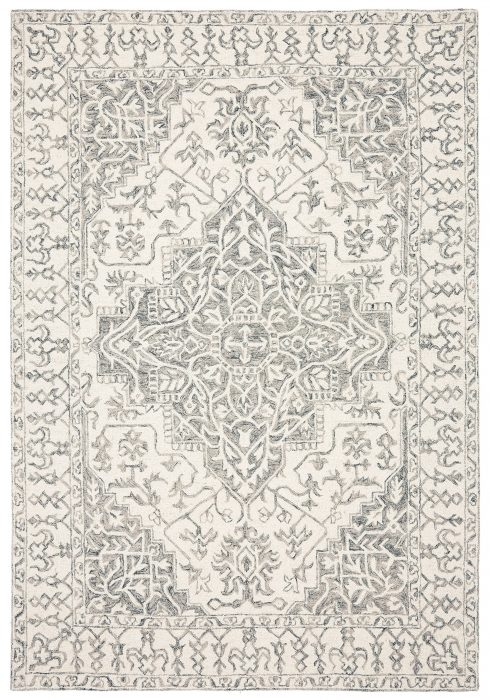 Bronte Rug by Asiatic Carpets in Silver Grey Colour has traditional design, a modern take on classic designs in updated tones