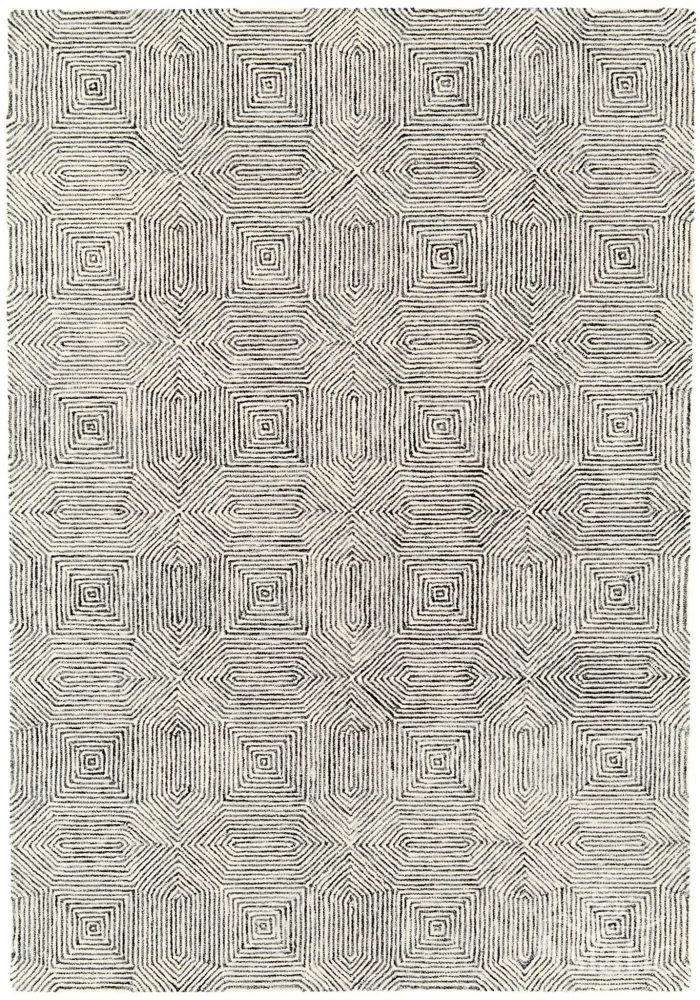 Camden Rug by Asiatic carpets in Black/White Colour; a rug with bold and geometric pattern, micro-tufted for a finer finish