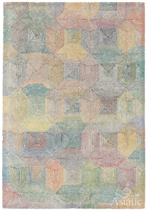 Camden Rug by Asiatic carpets in Cream/Multi Colour; a rug with bold and geometric pattern, micro-tufted for a finer finish