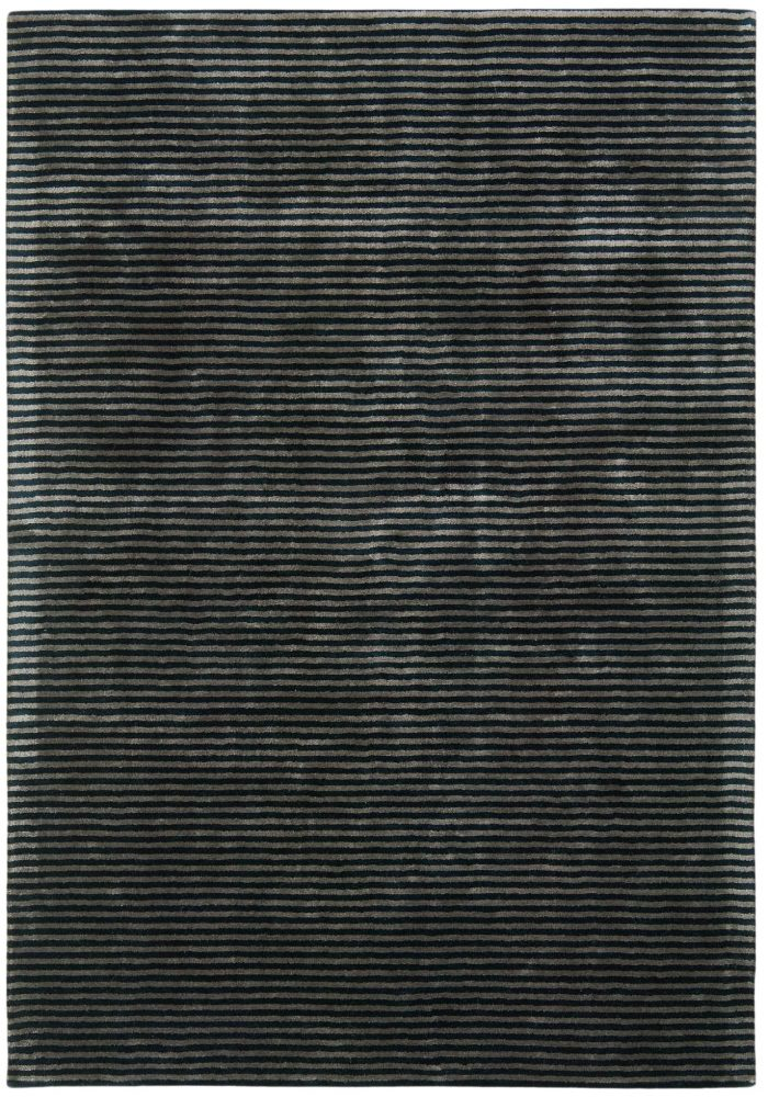 Katherine Carnaby Chrome Stripe Rug in Nero Colour features the finest silky smooth viscose pile in a contemporary tone