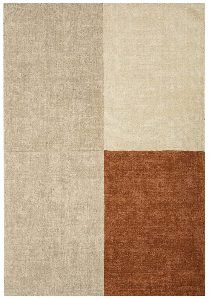 Blox Rug by Asiatic Carpets in Copper Colour; hand sheared wool loop rug in complementary bold blocks of colour