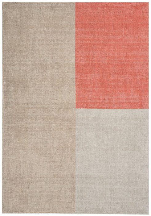 Blox Rug by Asiatic Carpets in Coral Colour; hand sheared wool loop rug in complementary bold blocks of colour