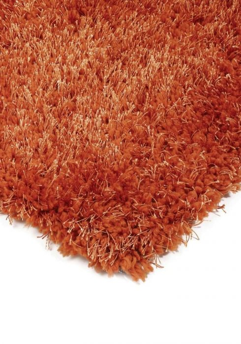 Diva Rug by Asiatic Carpets in Orange Colour; a soft touch polyester rug with a fine sparkle yarn