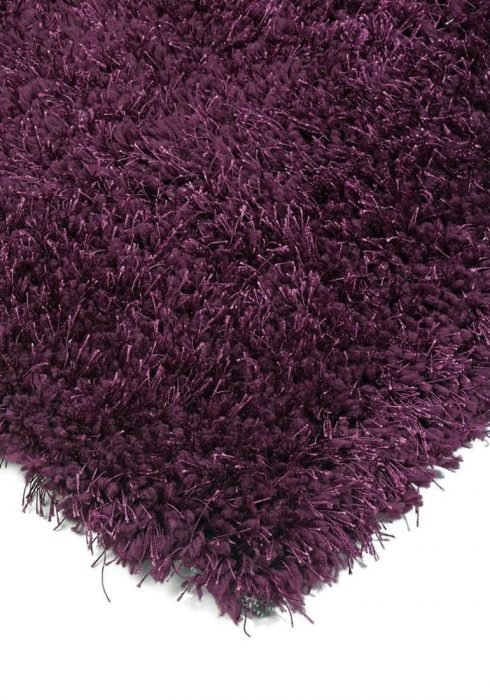 Diva Rug by Asiatic Carpets in Purple Colour; a soft touch polyester rug with a fine sparkle yarn