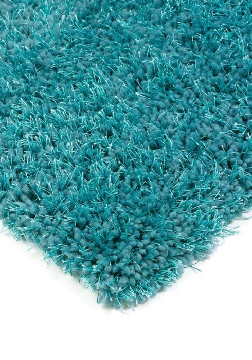 Diva Rug by Asiatic Carpets in Teal Colour; a soft touch polyester rug with a fine sparkle yarn