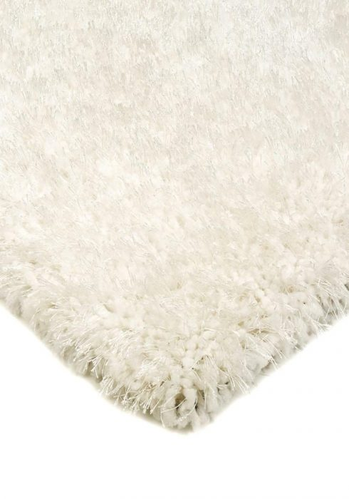 Diva Rug by Asiatic Carpets in White Colour; a soft touch polyester rug with a fine sparkle yarn