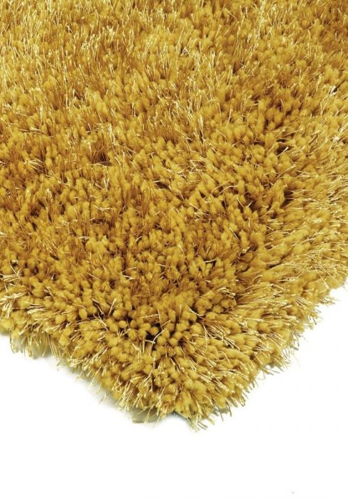 Diva Rug by Asiatic Carpets in Yellow Colour; a soft touch polyester rug with a fine sparkle yarn