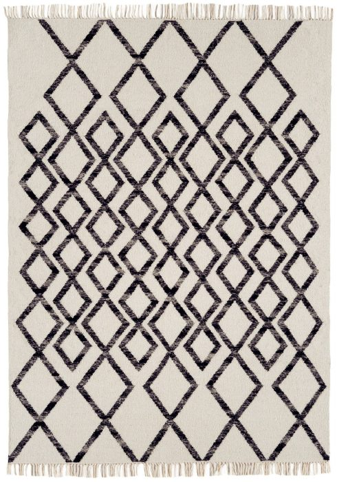 Hackney Rug by Asiatic Carpets in Diamond Mono Design; great looking geometric design woven in a durable wool kelim