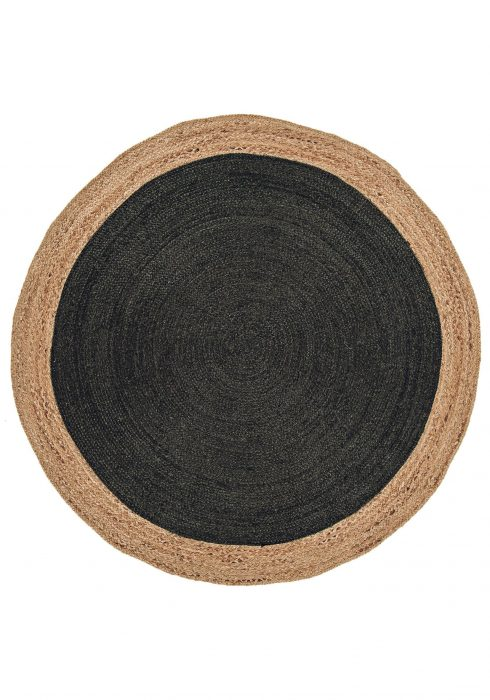 Faro Rug by Asiatic Carpets in Charcoal Colour; a simple circular rug which is practical and reversible too