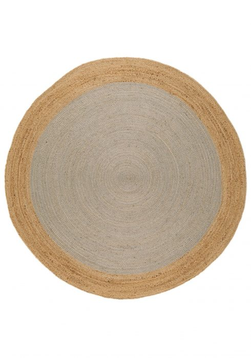 Faro Rug by Asiatic Carpets in Silver Colour; a simple circular rug which is practical and reversible too
