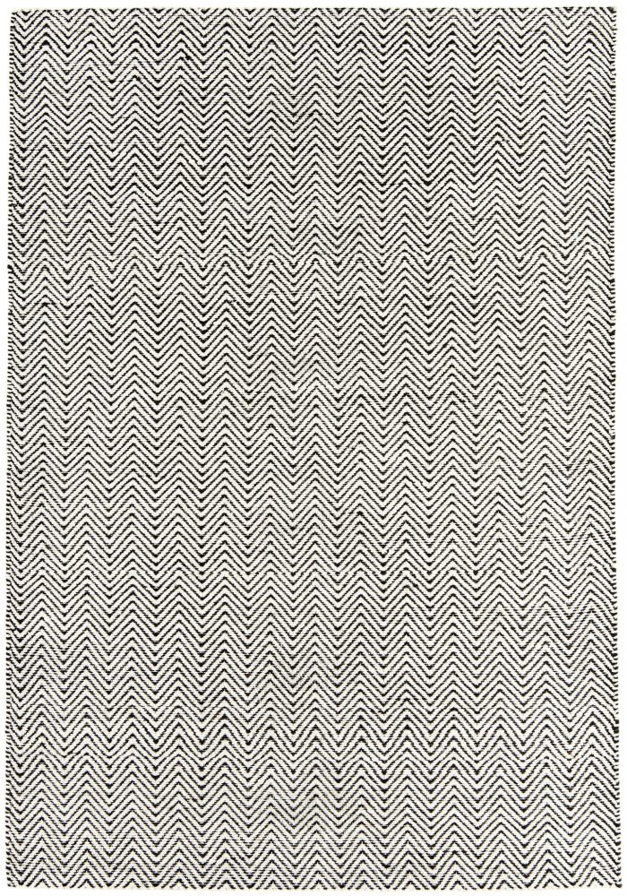 Ives Rug by Asiatic Carpets in Black/White Colour has a classic herringbone pattern made with cotton chenille and jute