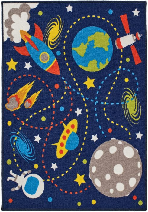 Children's Playtime Rug by Oriental Weavers in Moon Mission Design has rockets, planets, astronauts, shooting stars and earth