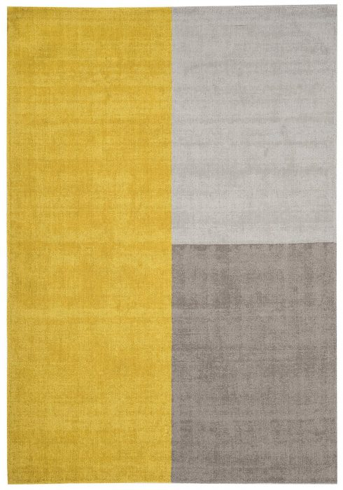 Blox Rug by Asiatic Carpets in Mustard Colour; hand sheared wool loop rug in complementary bold blocks of colour