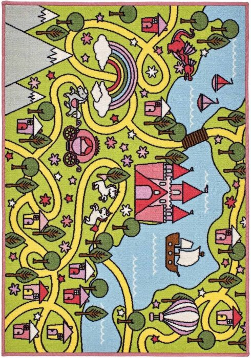 Children's Playtime Rug by Oriental Weavers in Fairy Tale Design features castle, boat, hot air balloon, ponies, and dragon