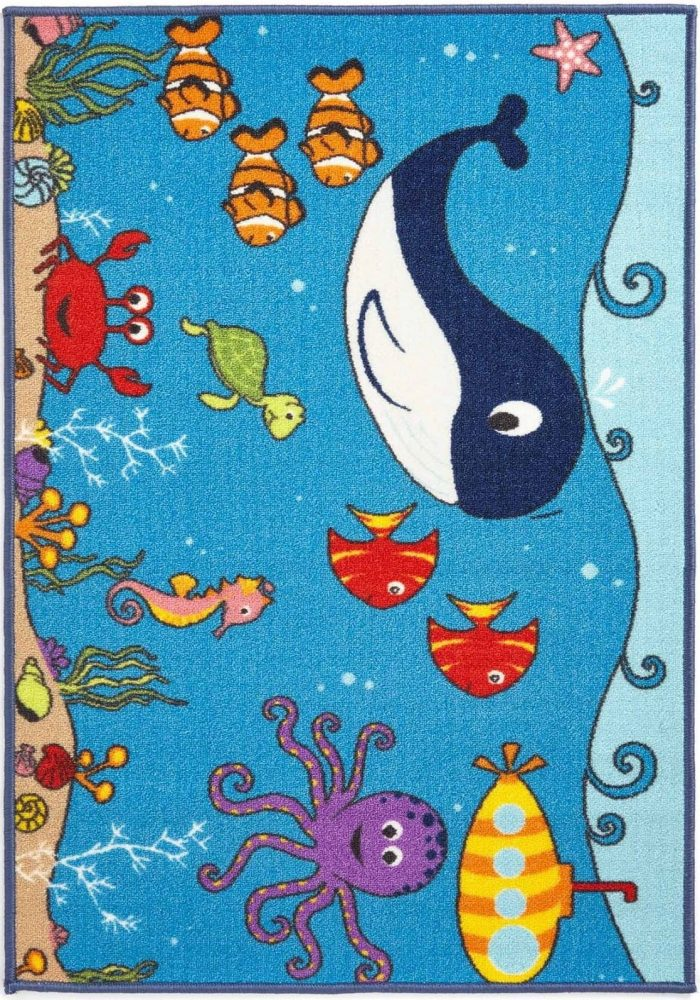 Children's Bambino Rug by Oriental Weavers in Sea Life Design; Printed on 100% nylon, this mat features an anti-slip backing