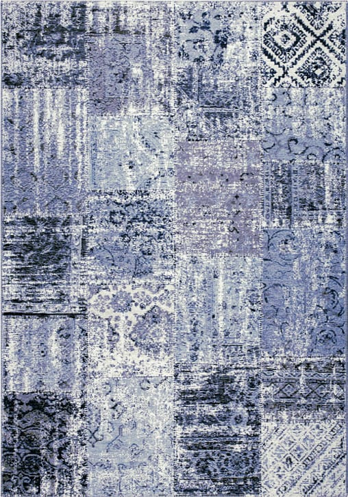 Amalfi Rug by Mastercraft Rugs in 094 0010 5001 Blue Design; made up of 40% viscose, 38% cotton chenille, and 22% polyester