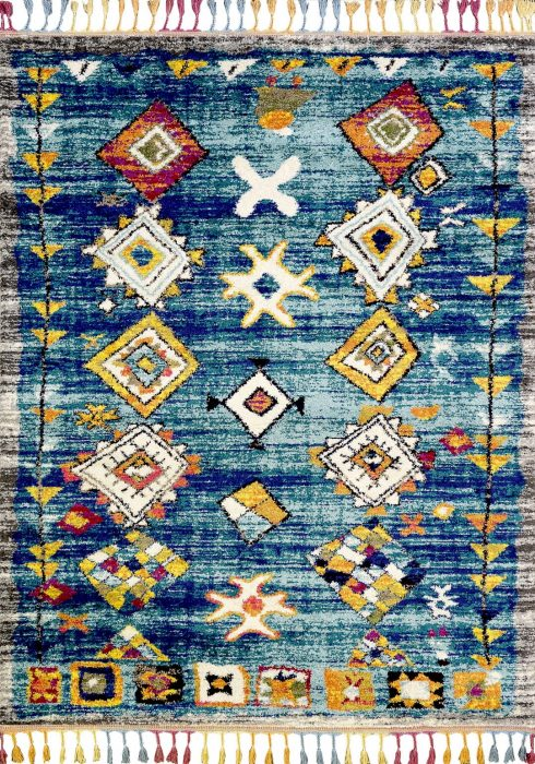 Royal Marrakech Rug by Mastercraft Rugs in 2207B Turquoise/Grey Design has thick Berber style pile in modern vibrant colours