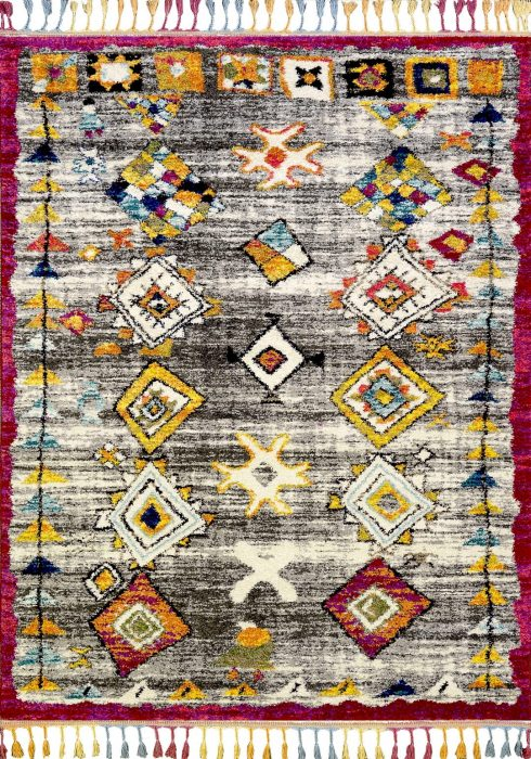 Royal Marrakech Rug by Mastercraft Rugs in 2207B Grey/Lilac Design has a thick Berber style pile in modern vibrant colours