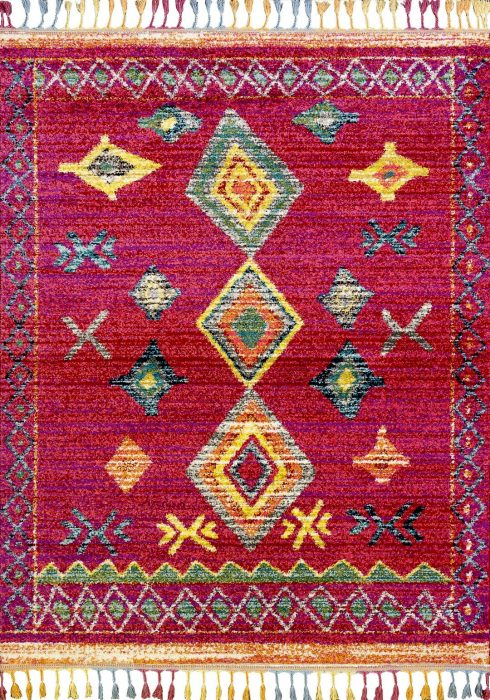 Royal Marrakech Rug by Mastercraft Rugs in 2208B Red/Lilac Design has a thick Berber style pile in modern vibrant colours