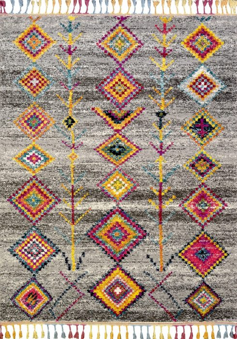 Royal Marrakech Rug by Mastercraft Rugs in 2209B Grey Design has a thick Berber style pile in modern vibrant colours