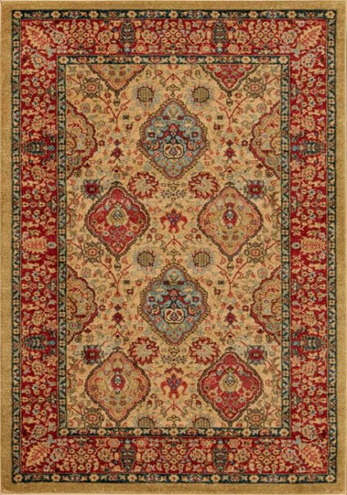 Ziegler Rug in 355 Beige/Red Design; antistatic, soil repellent, anti-bacterial, water repellent, and non-allergenic