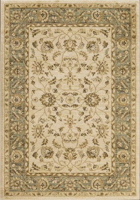 Ziegler Rug in 7709 Cream/Green Design; antistatic, soil repellent, anti-bacterial, water repellent, and non-allergenic