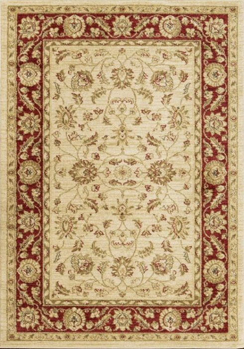 Ziegler Rug in 7709 Cream/Red Design; antistatic, soil repellent, anti-bacterial, water repellent, and non-allergenic