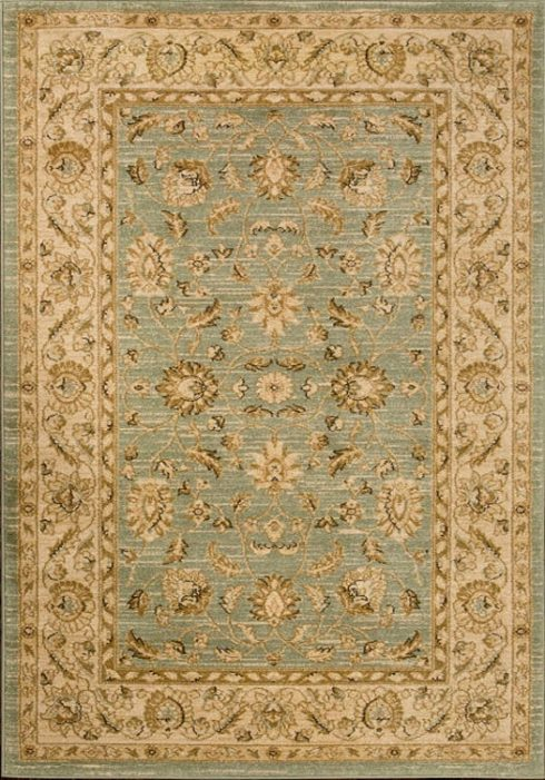 Ziegler Rug in 7709 Light Green/Cream Design; antistatic, soil repellent, anti-bacterial, water repellent, and non-allergenic