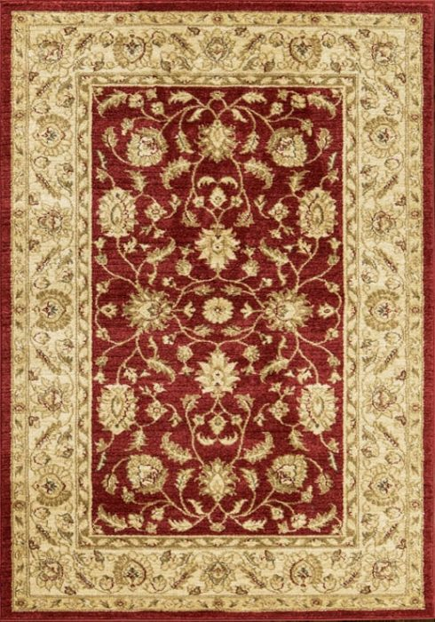Ziegler Rug in 7709 Red/Cream Design; antistatic, soil repellent, anti-bacterial, water repellent, and non-allergenic