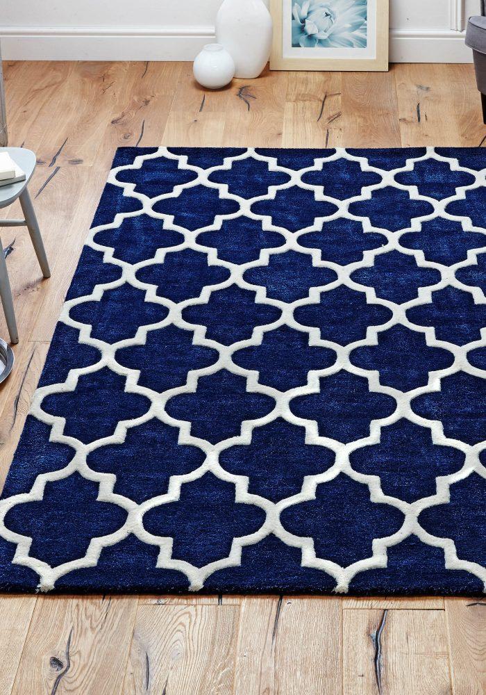 Arabesque Blue Rug Roomshot