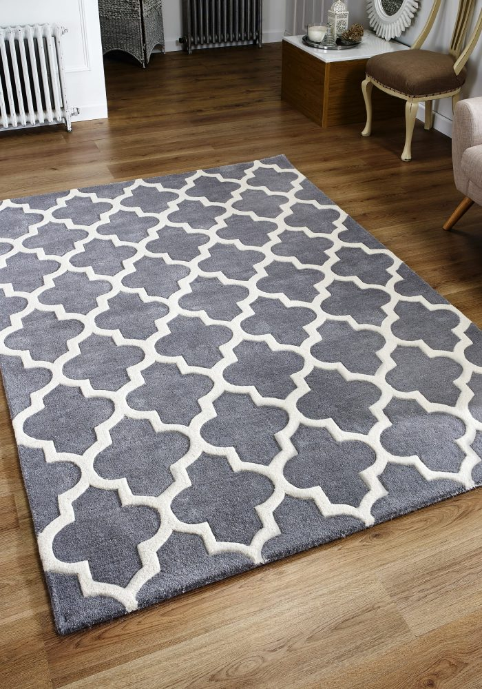 Arabesque Grey Rug Roomshot