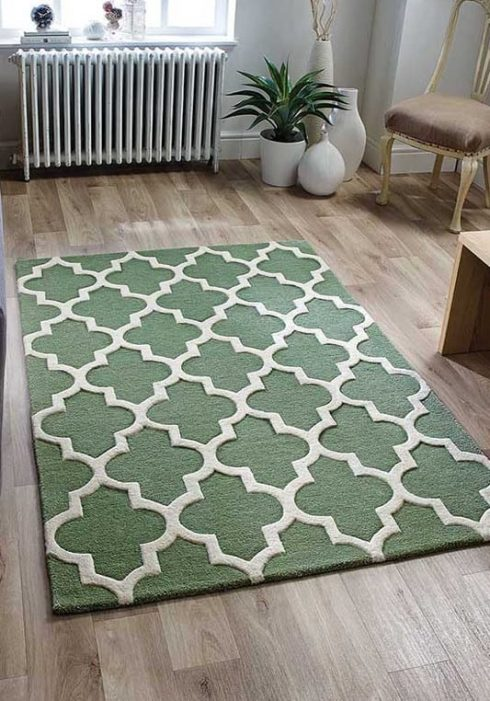 Arabesque Sage Green Rug Roomshot