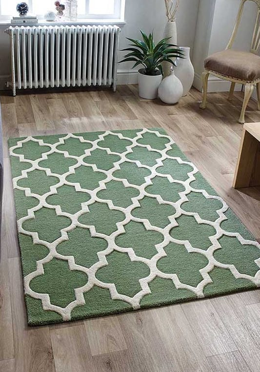 Arabesque Sage Green Rug Roomshot