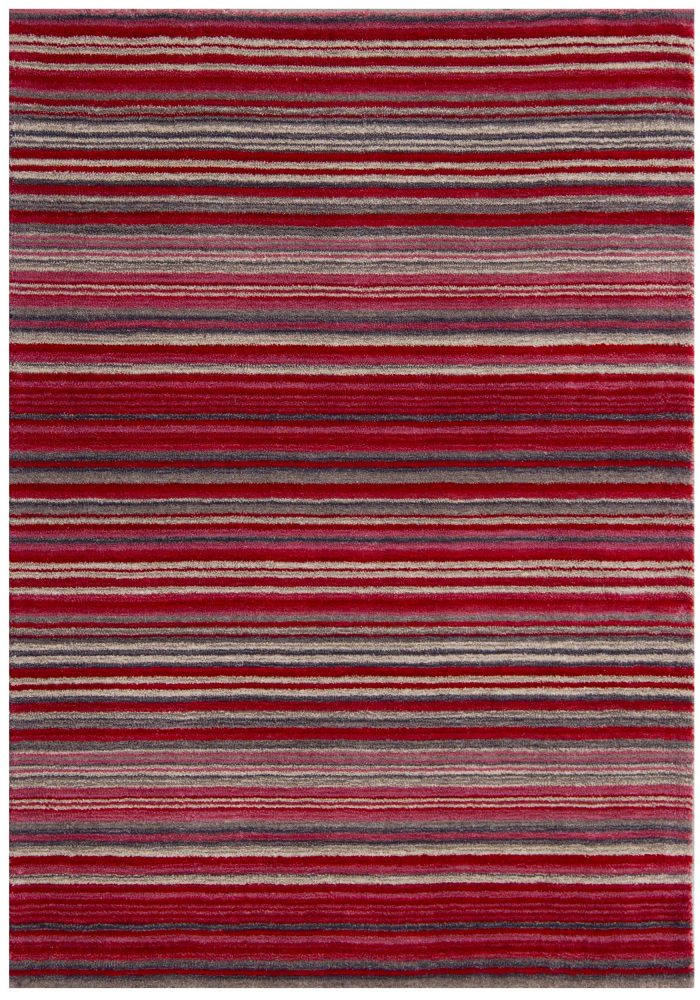 Carter Rug by Oriental Weavers in Red Colour has the classic striped pattern and soft blend of colours