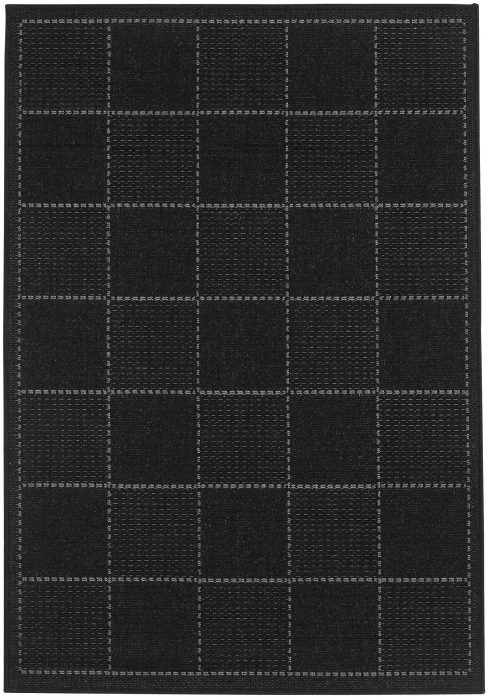 Checked Flatweave Black Overhead Rug