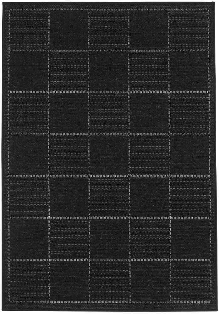 Checked Flatweave Rug by Oriental Weavers in Black Colour; Inspired by traditional sisal rug and has an anti-slip gel backing