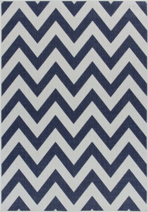 Moda Flatweave Rug by Oriental Weavers in Chevron Blue Design is durable and lasting; features an anti-slip backing