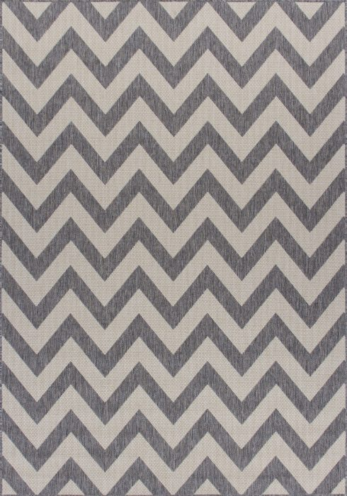 Moda Flatweave Rug by Oriental Weavers in Chevron Grey Design is durable and lasting; features an anti-slip backing