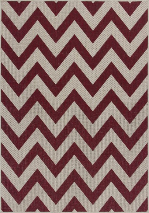 Moda Flatweave Rug by Oriental Weavers in Chevron Red Design is durable and lasting; features an anti-slip backing